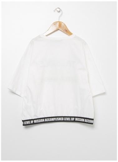 Funky Rocks Funky Rocks Kız Çocuk Beyaz Bisiklet Yaka T-Shirt Beyaz